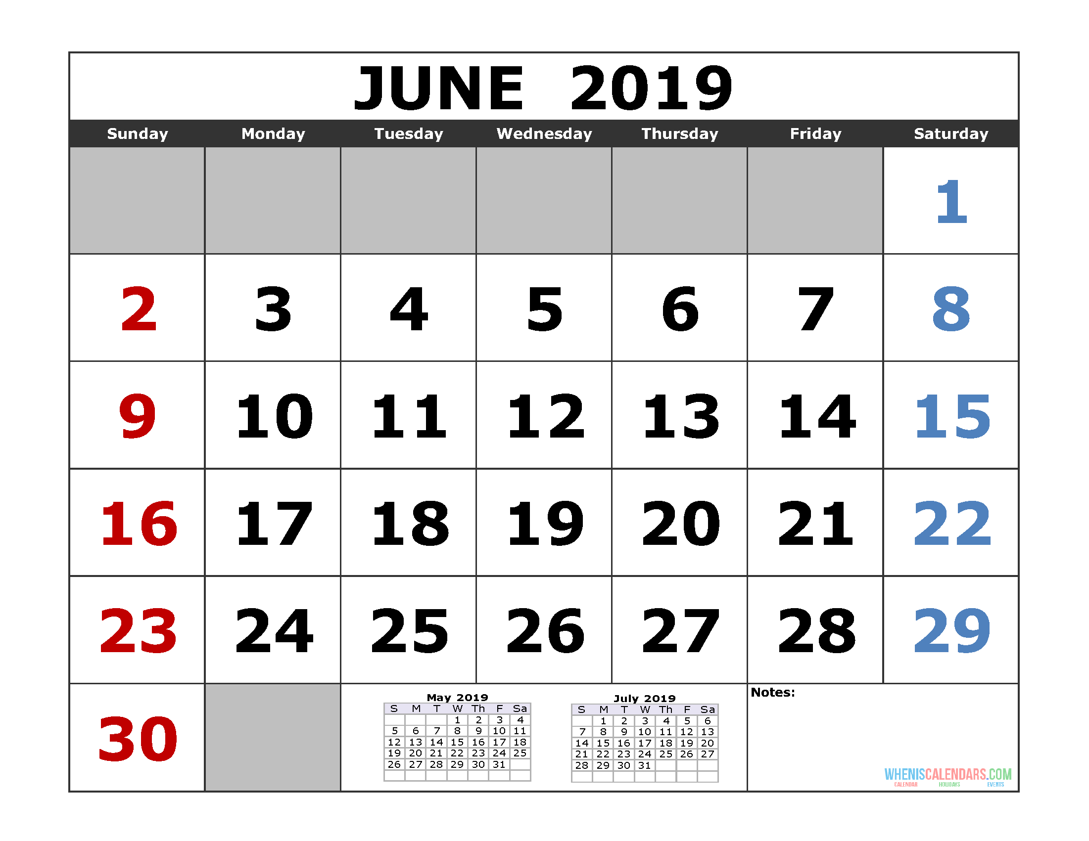 June 2019 Printable Calendar By Week and Month