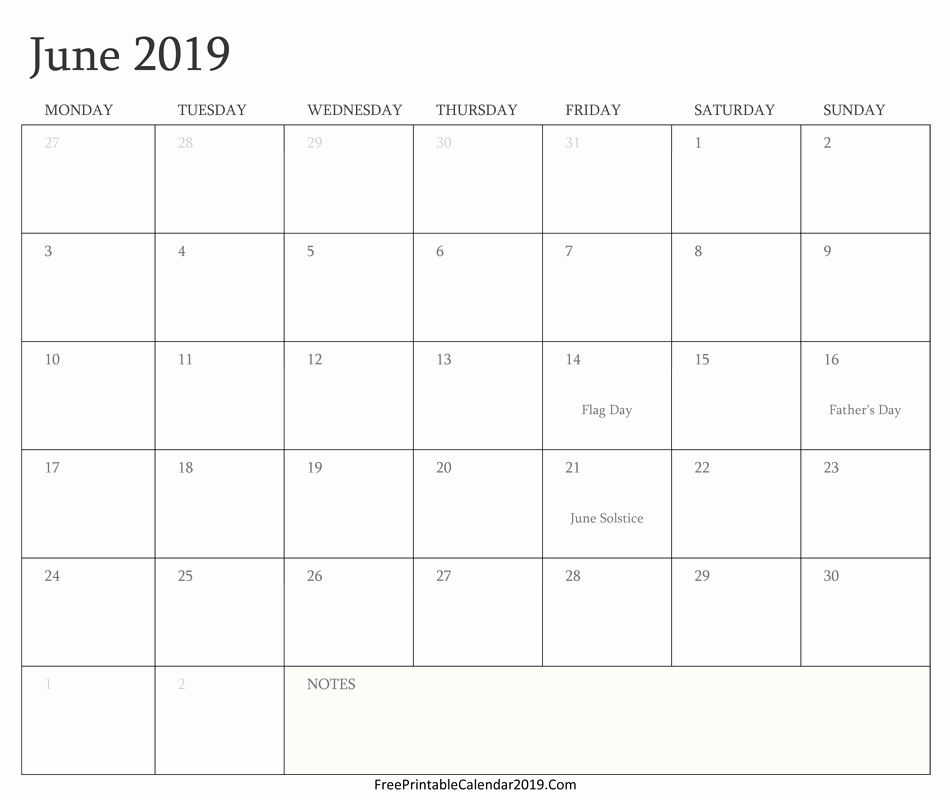 June Calendar 2019 Printable Notes and To Do List