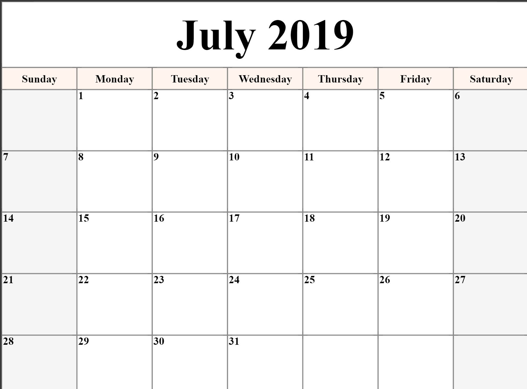 Monthly July 2019 Calendar