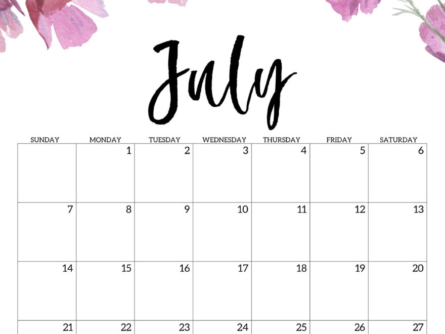 Printable Calendar for July 2019 Page
