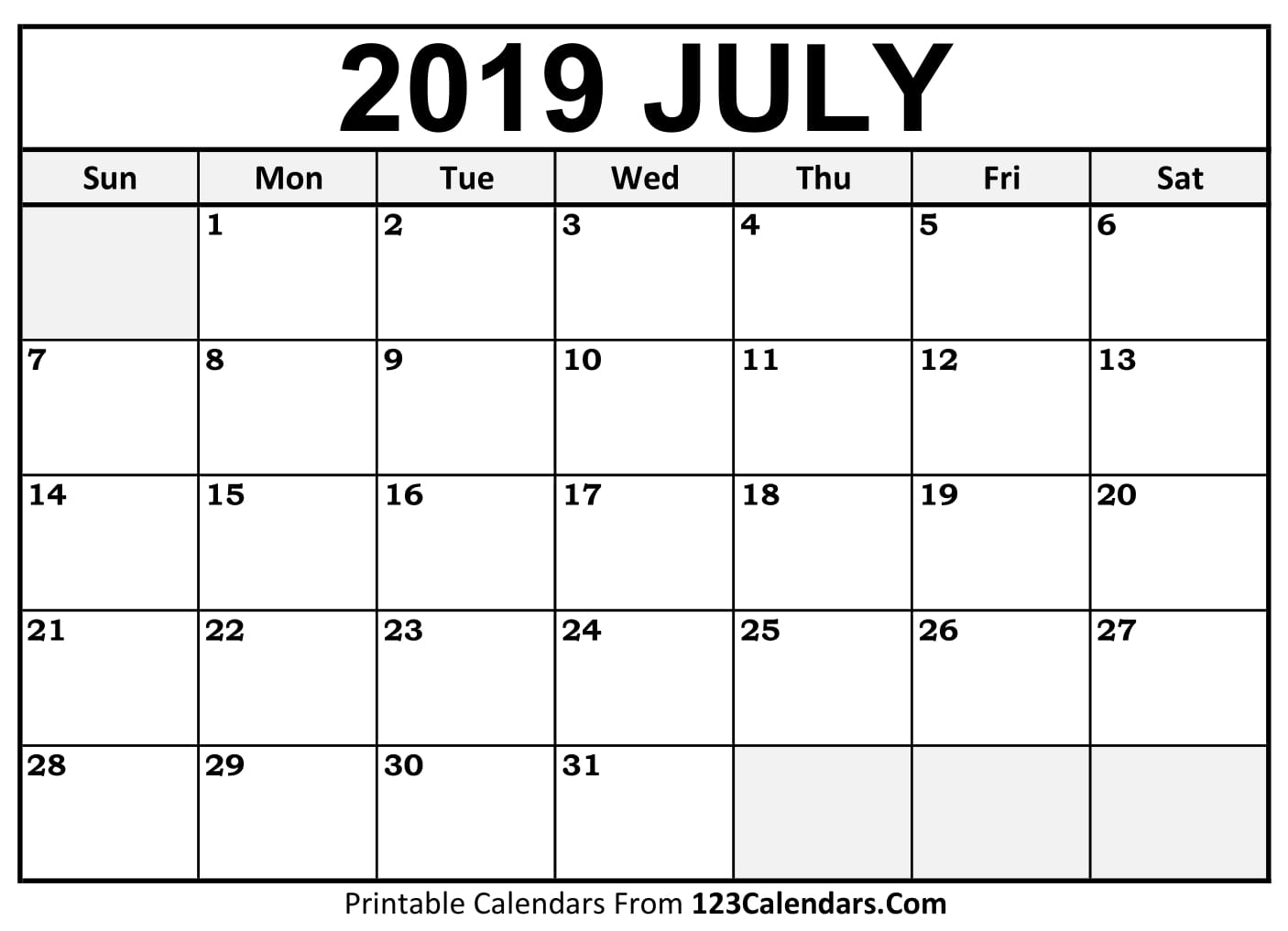 July 2019 Printable Calendar Template By Week And Month
