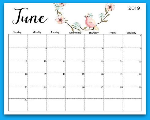 Printable Calendar for June 2019 Page
