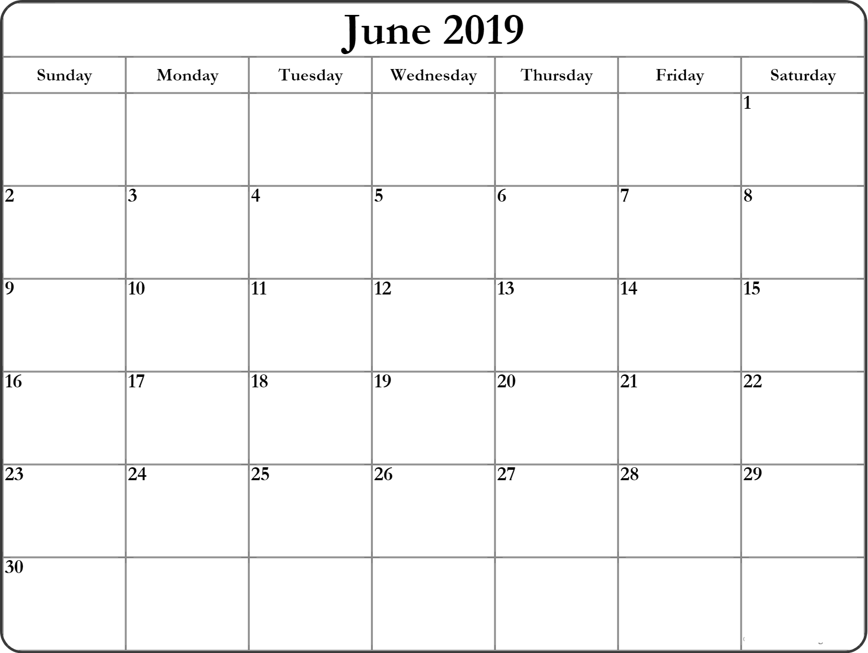 Printable Calendar for June 2019 Templates