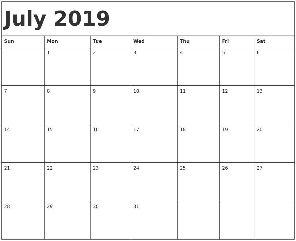 Printable July Calendar 2019 For Weekly Template