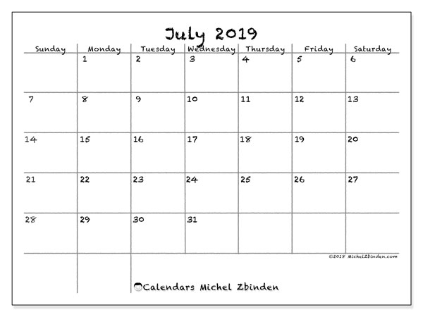 Printable July Calendar 2019 For Weekly