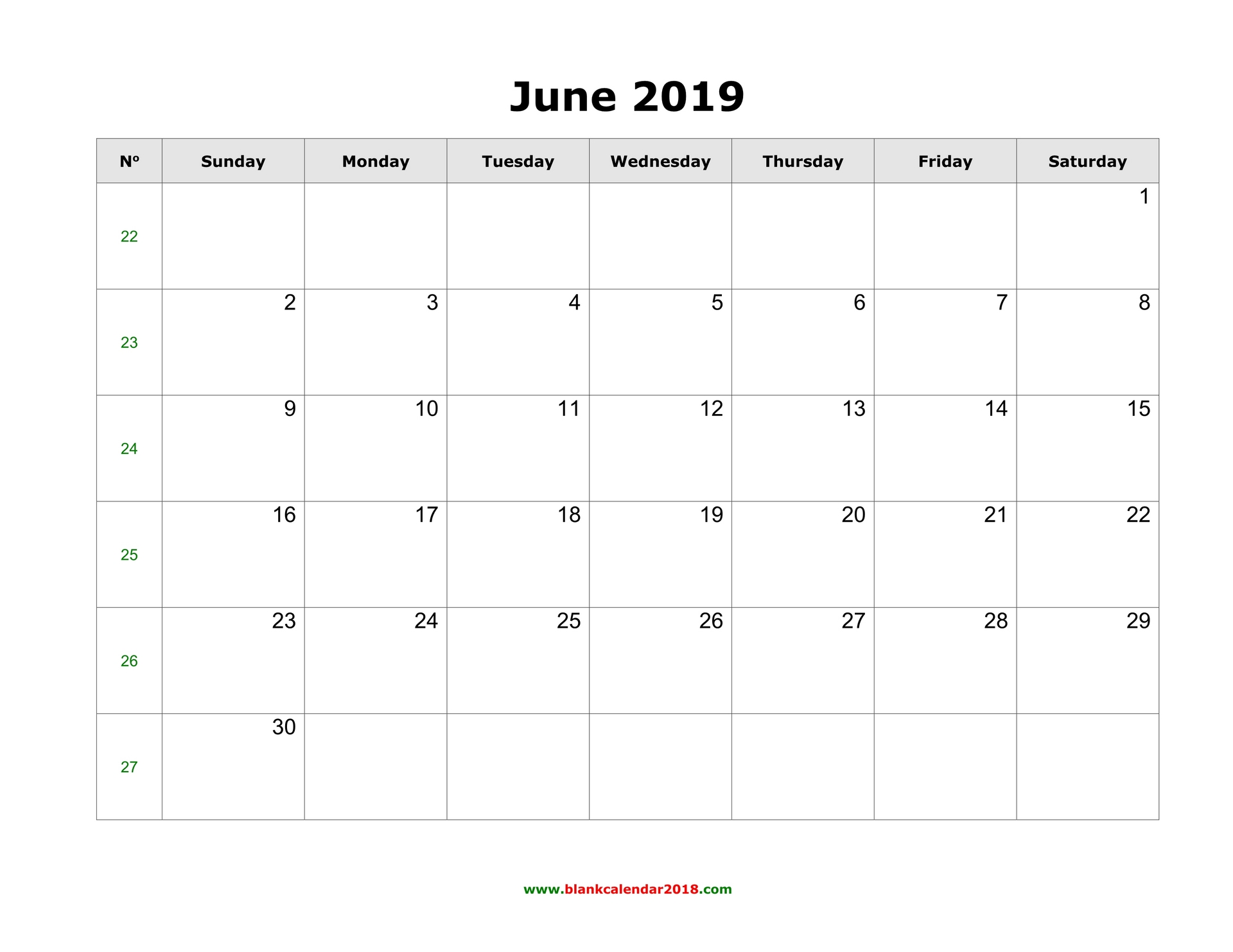 Printable June 2019 Calendar Daily