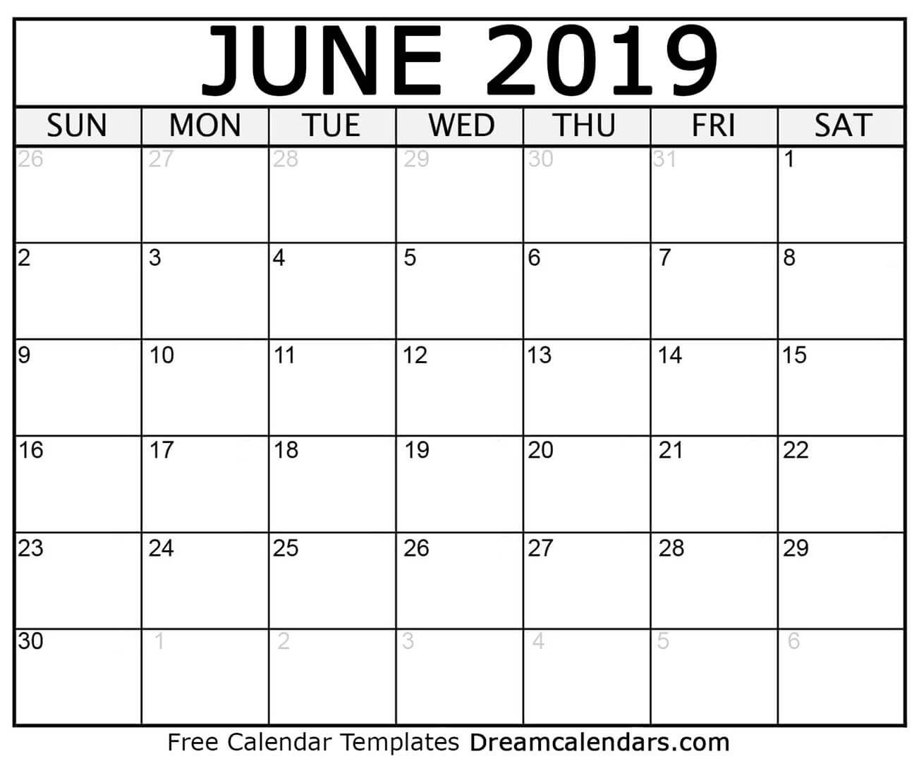 Printable June 2019 Calendar for Monthly