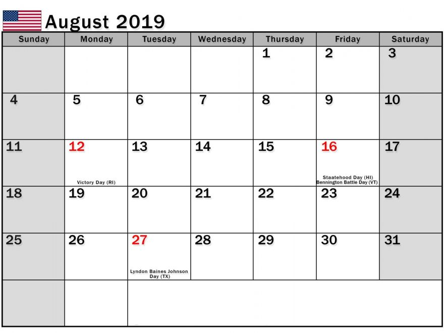 August 2019 Calendar US Public Holidays