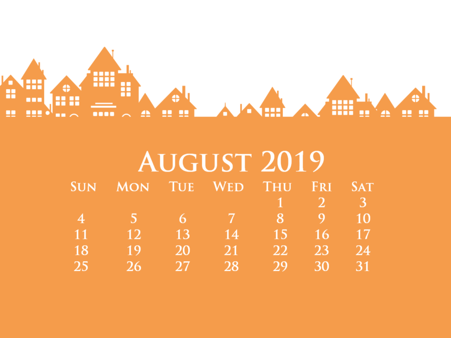 August 2019 Desktop Calendar HD Wallpaper
