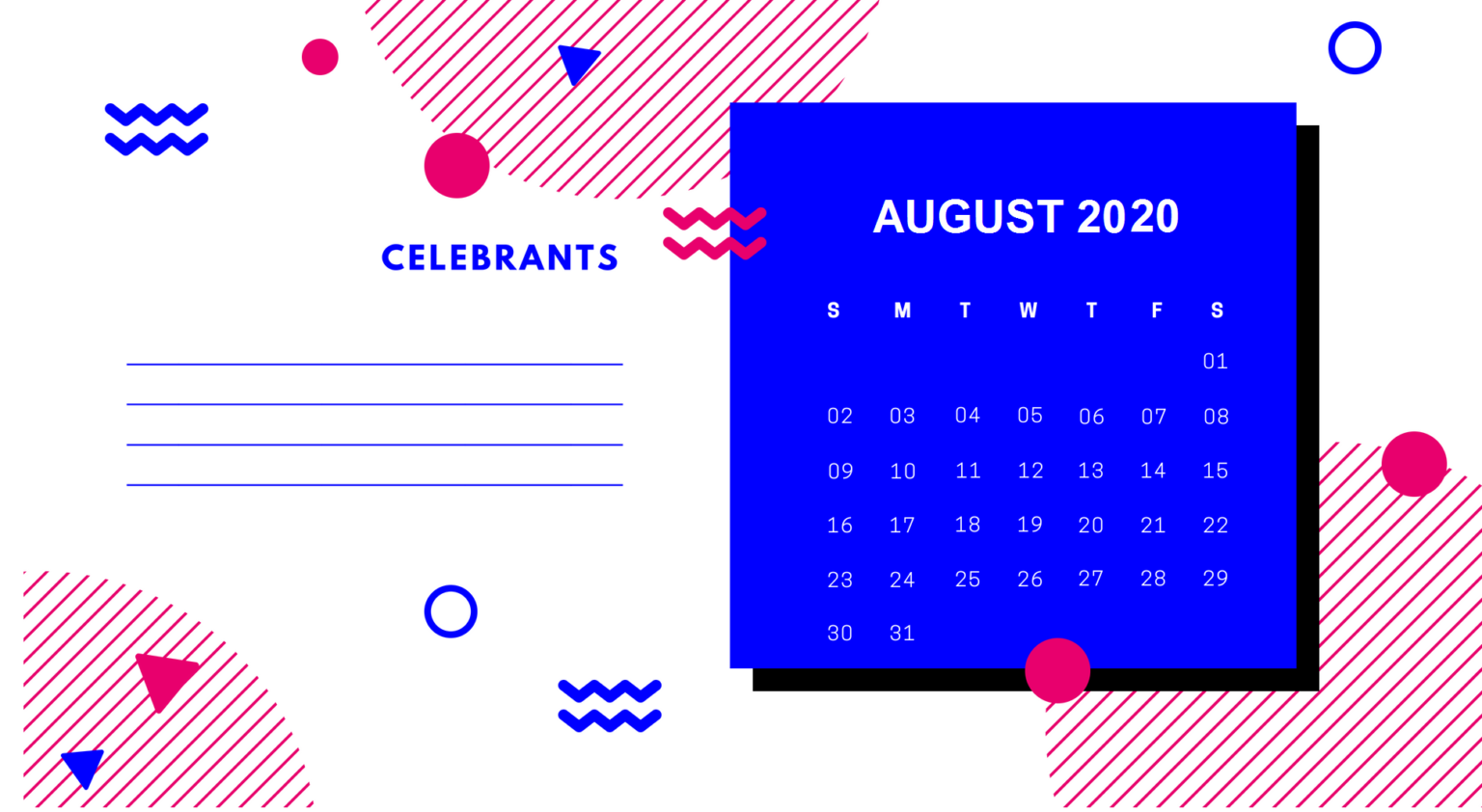 August 2020 Office Desk Calendar
