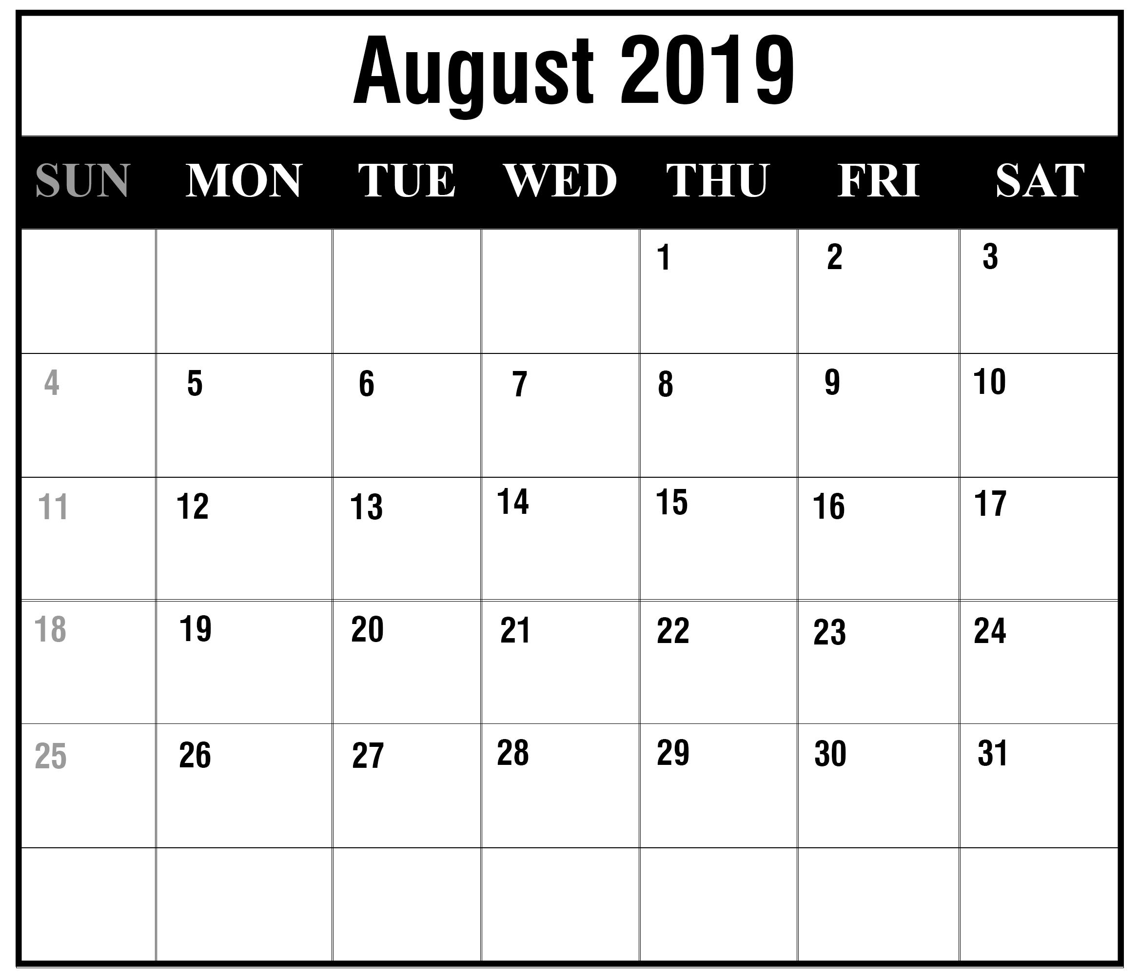 printable august 2019 calendar pdf free monthly template