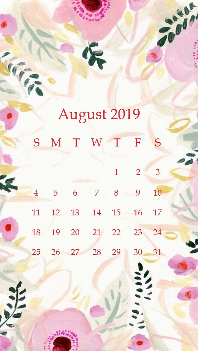 Beautiful floral Design August 2019 iPhone Calendar