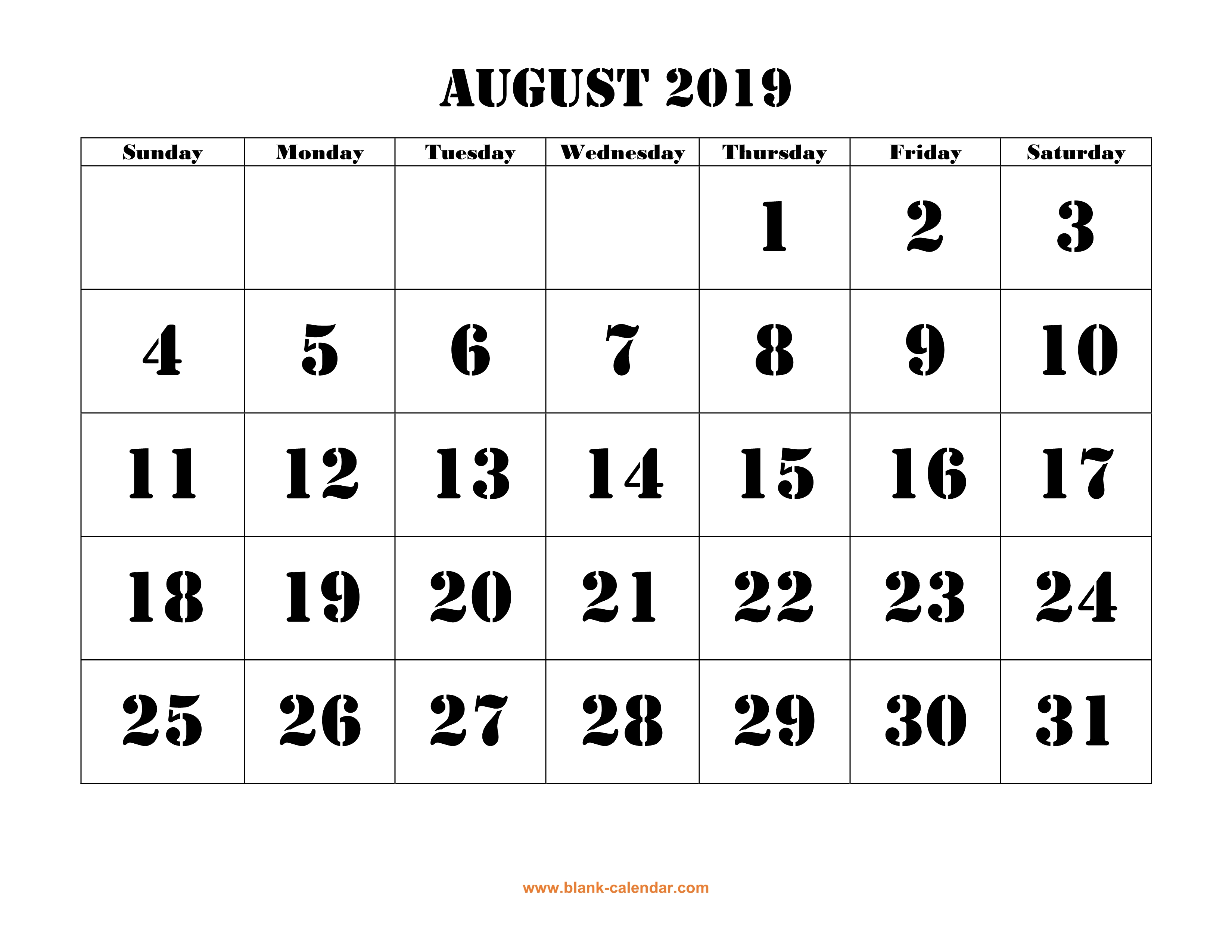 Calendar August 2019 In PDF, Word, Excel Printable Template