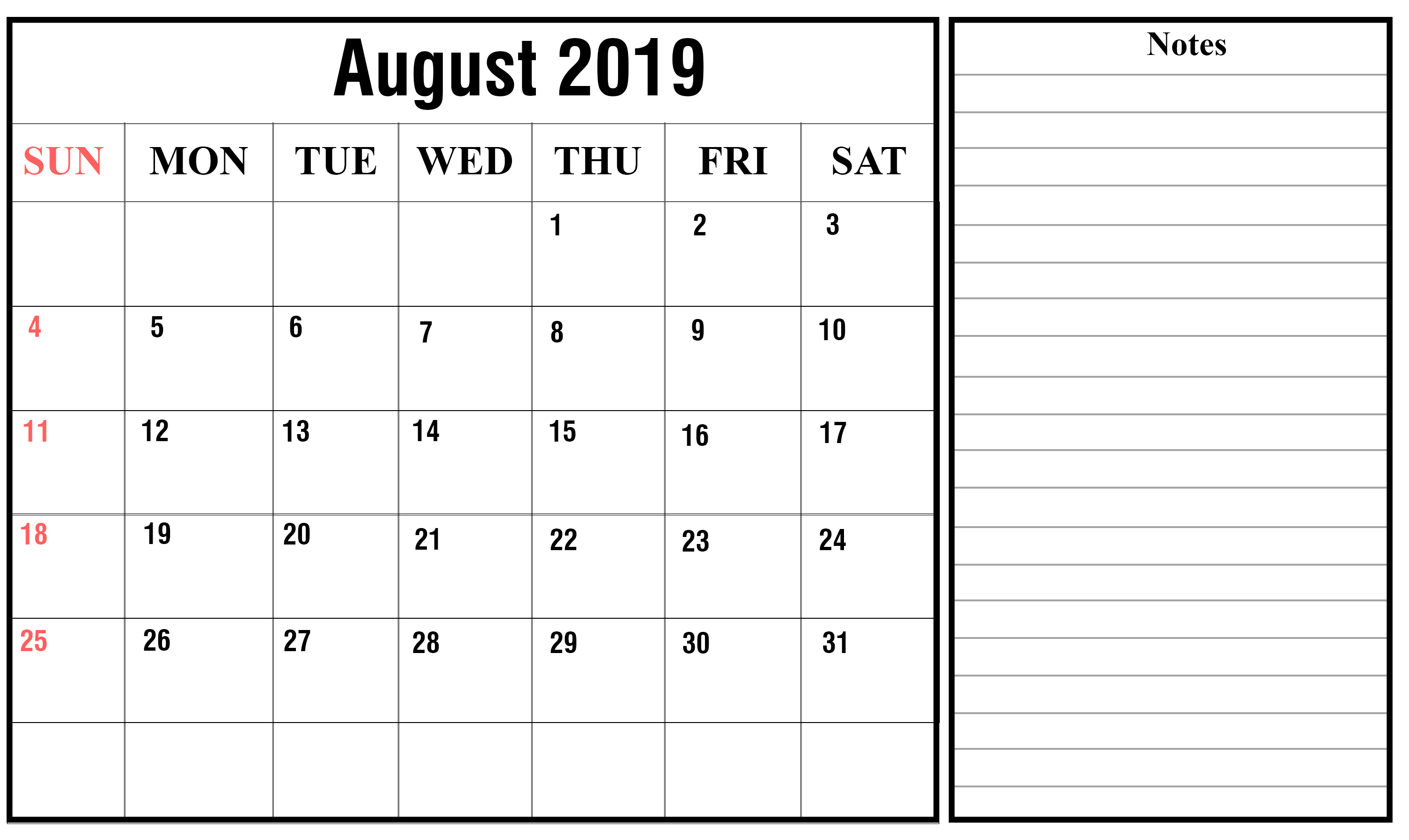 Blank Calendar Pages August 2019