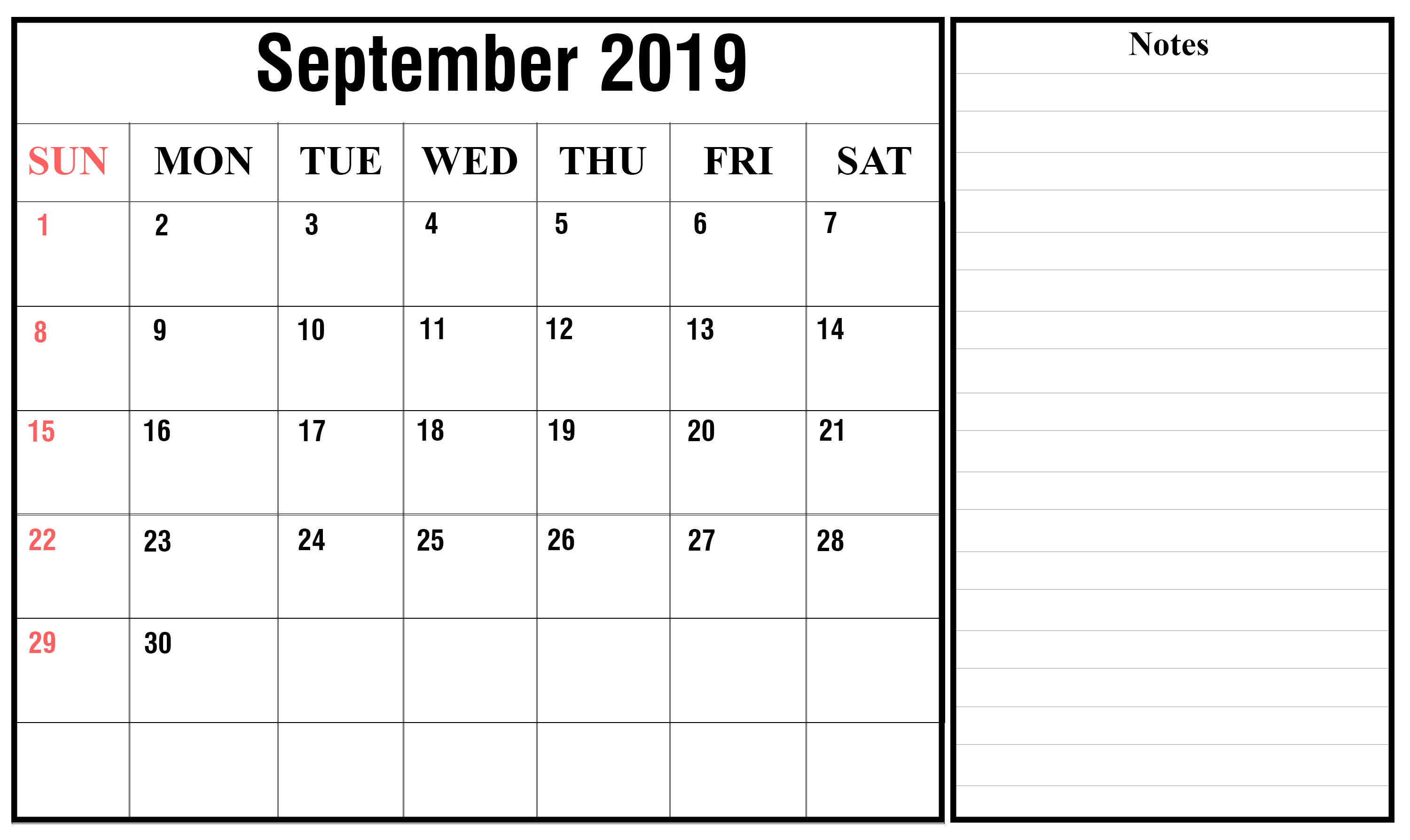 Blank Monthly Calendar September 2019