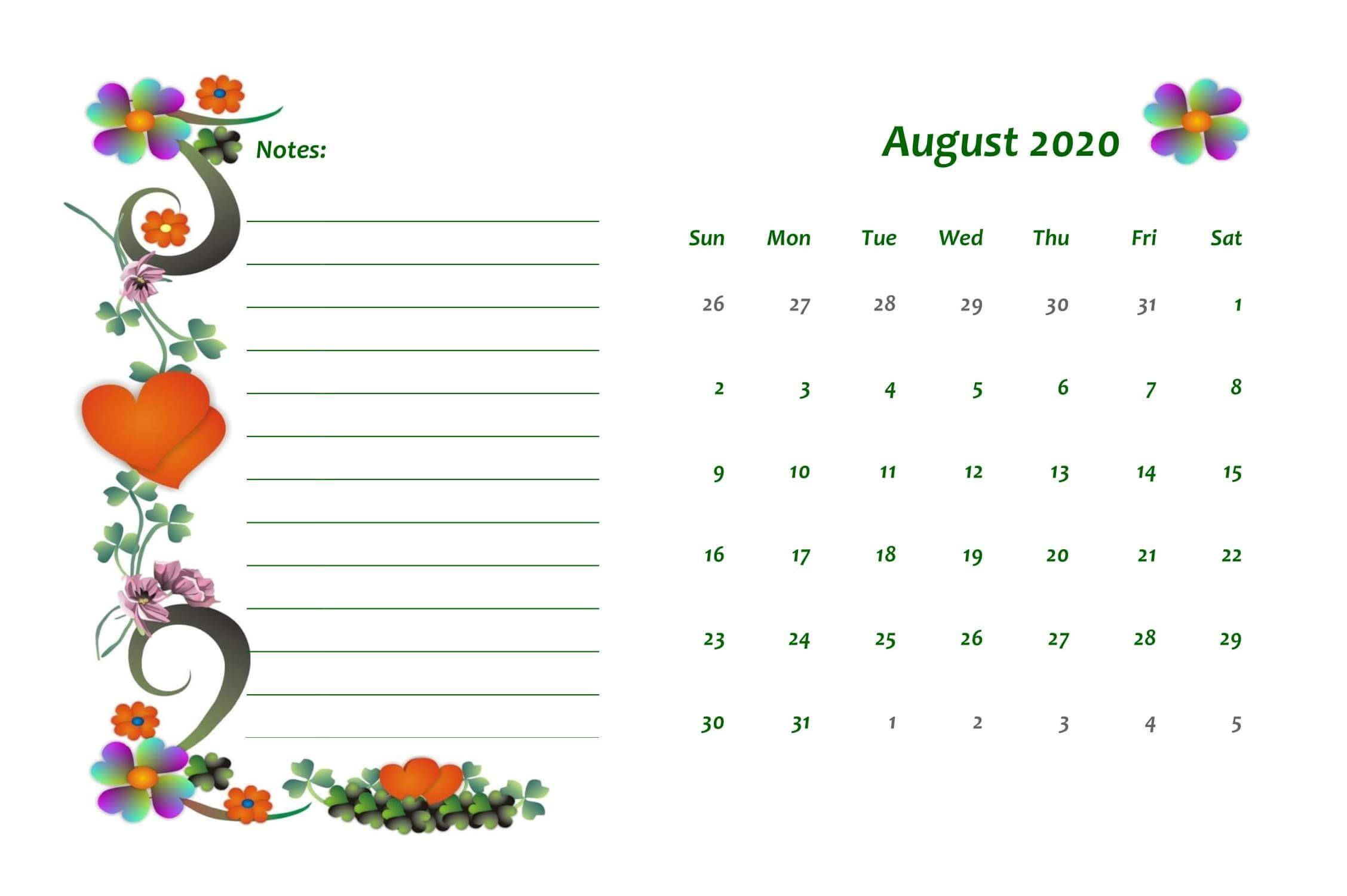 Calendar 2020 August With Notes