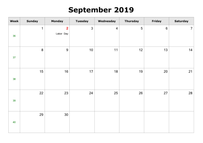 Calendar For September 2019 With Holidays
