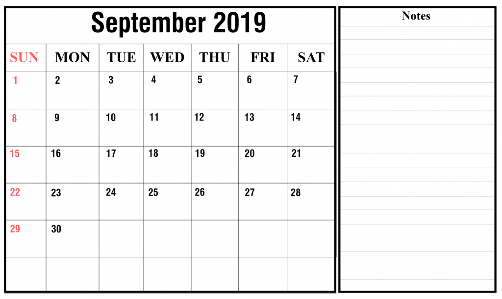 Calendar for September 2019 with Notes