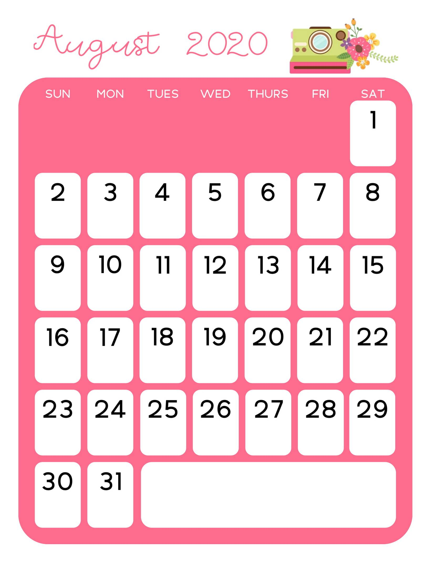 Cute August 2020 Calendar Colorful