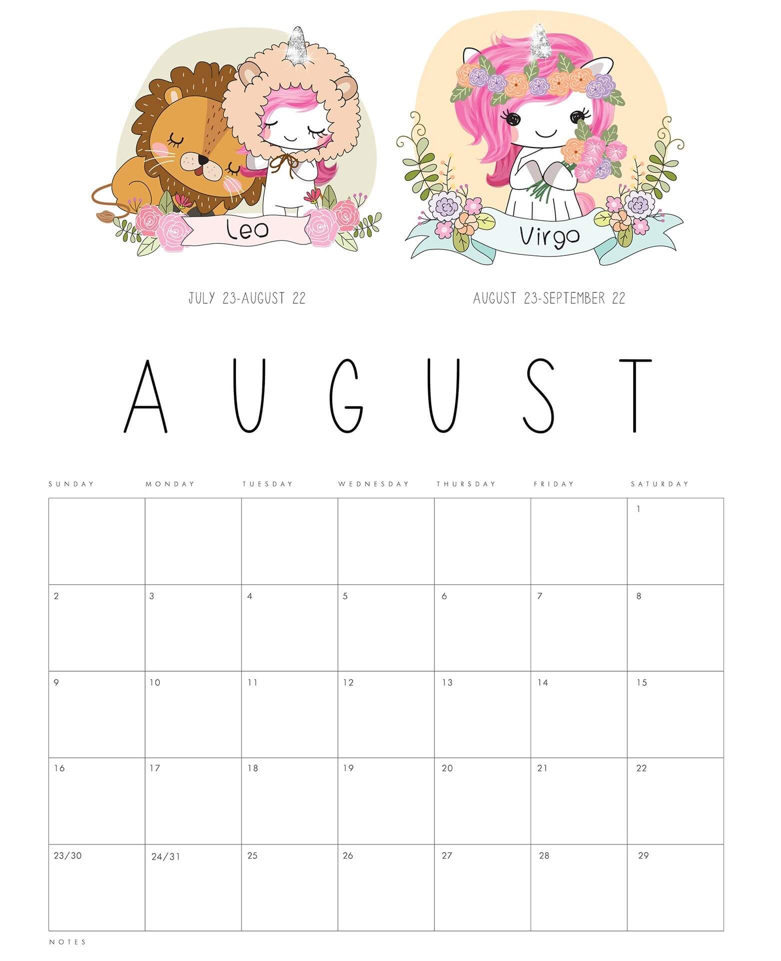 Cute August 2020 Calendar Printable Template