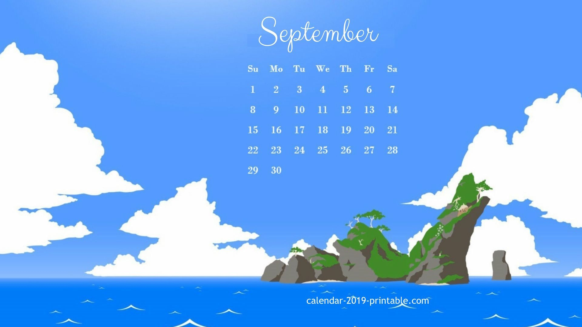 Desktop Calendar for September 2019