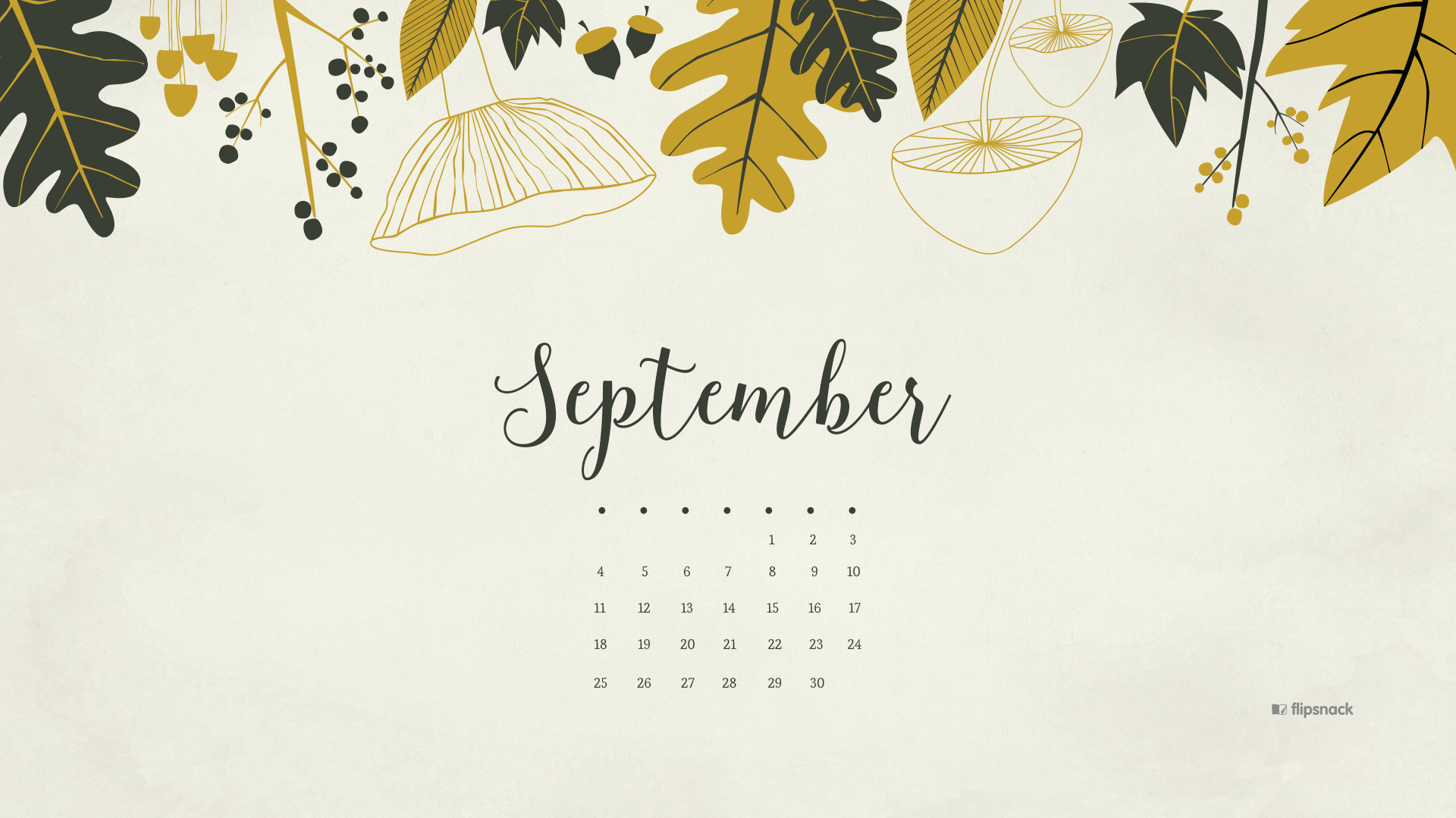 Floral September 2019 Desktop Calendar Wallpaper