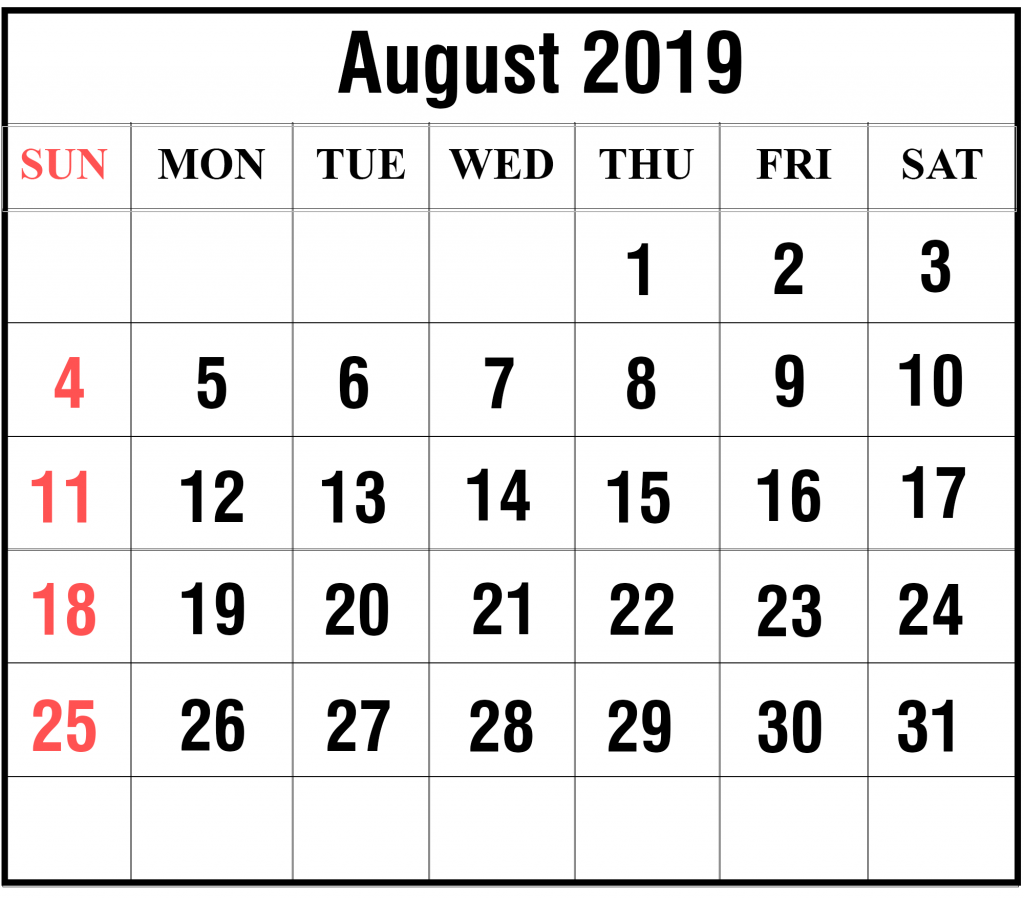 Monthly Calendar for August 2019