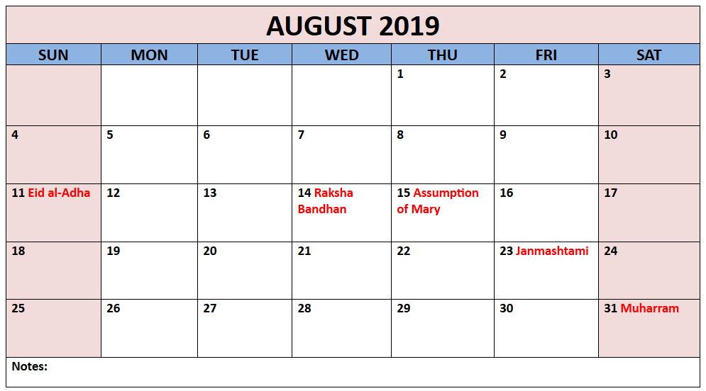 Printable August 2019 Calendar With Holidays