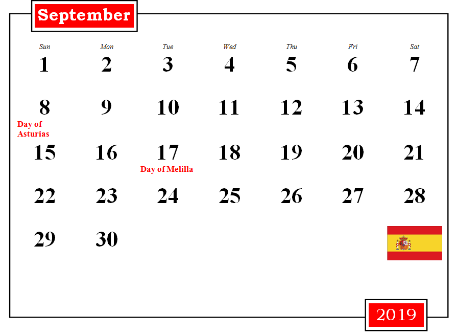 September 2019 Calendar with Holidays Philippines