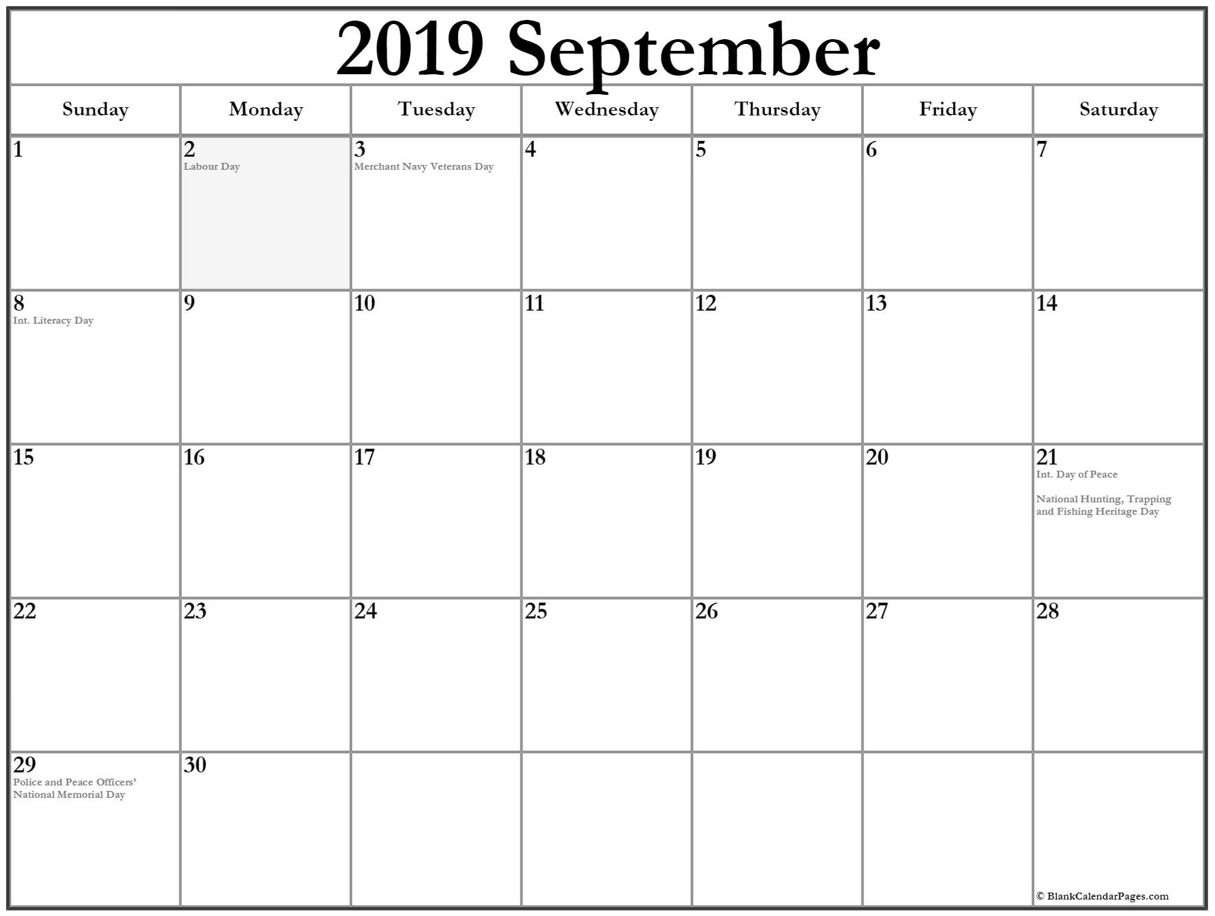 September 2019 Federal Holidays Calendar
