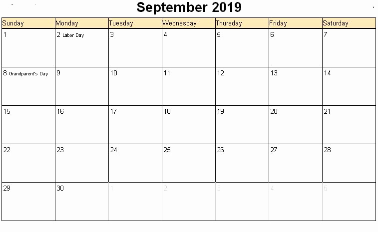 September 2019 School Holidays Calendar