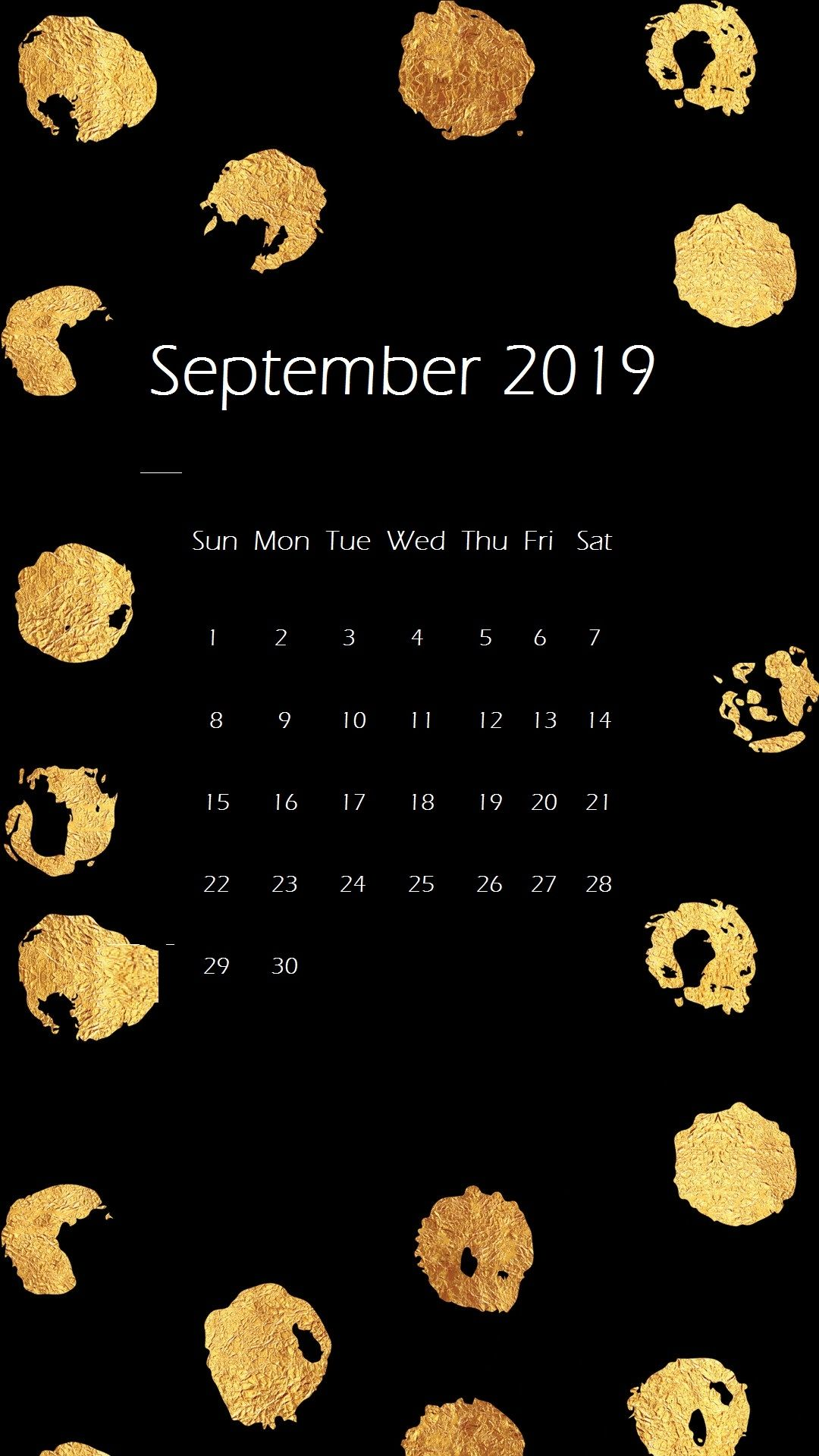 September 2019 iPhone Calendar Wallpaper