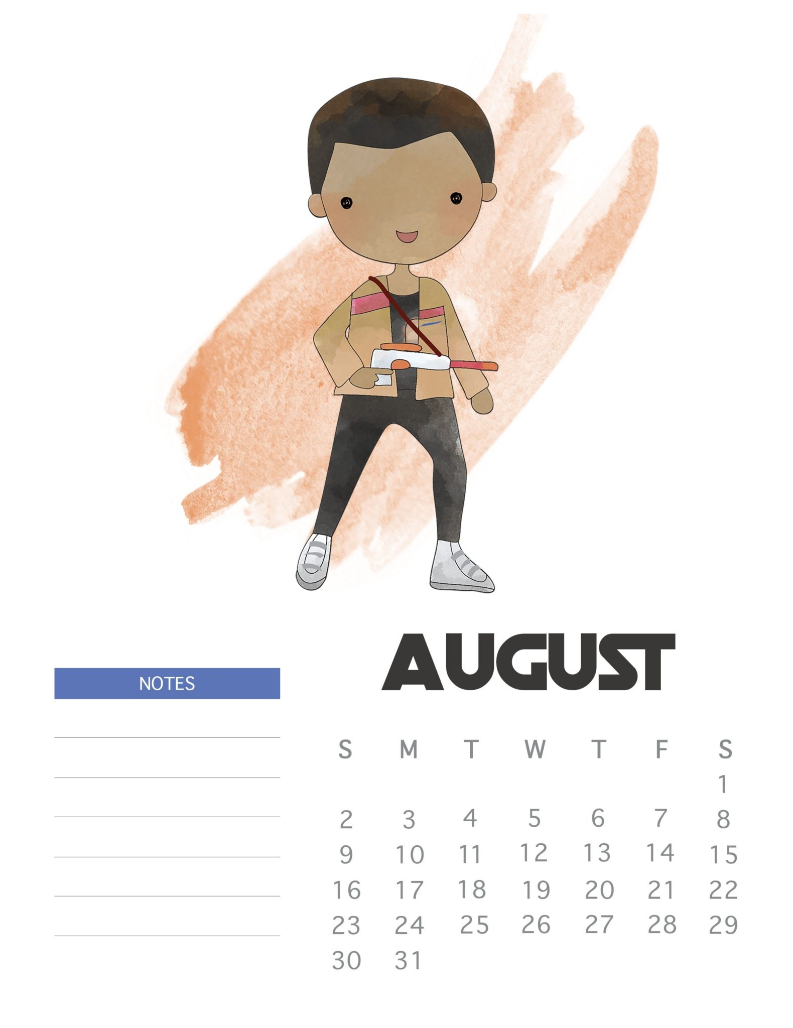 Star Wars August 2020 Desk Calendar
