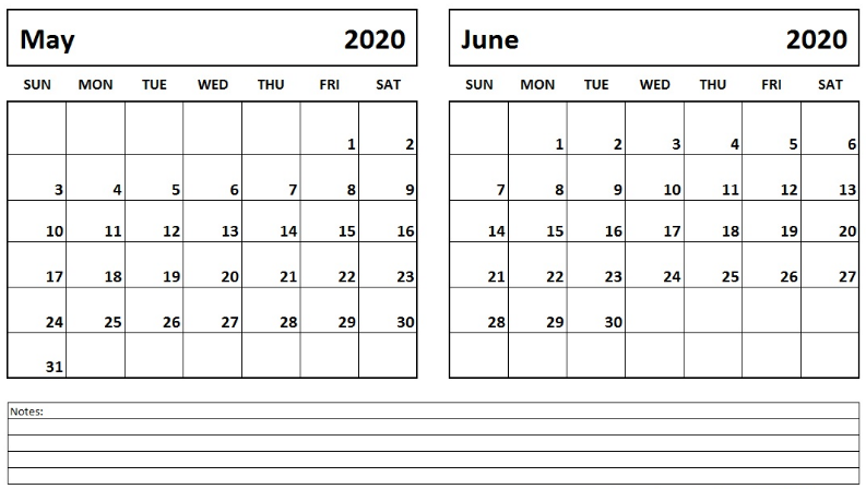 May June 2020 Calendar Printable Templates