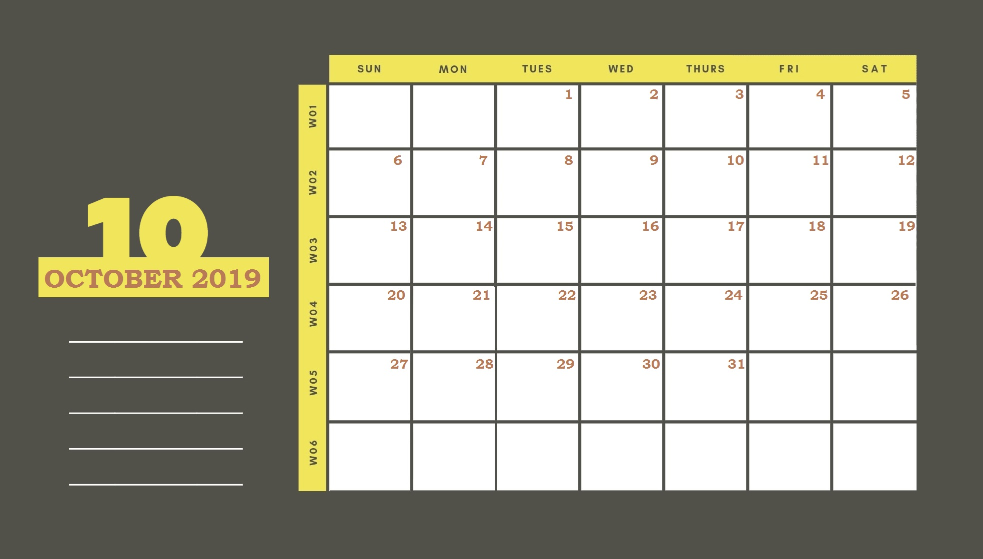 Beautiful October 2019 Printable Calendar Template