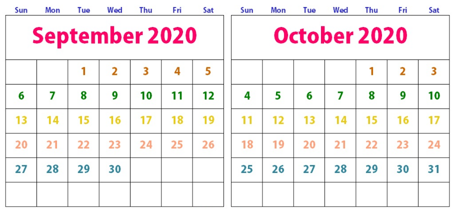 Cute September October 2020 Calendar