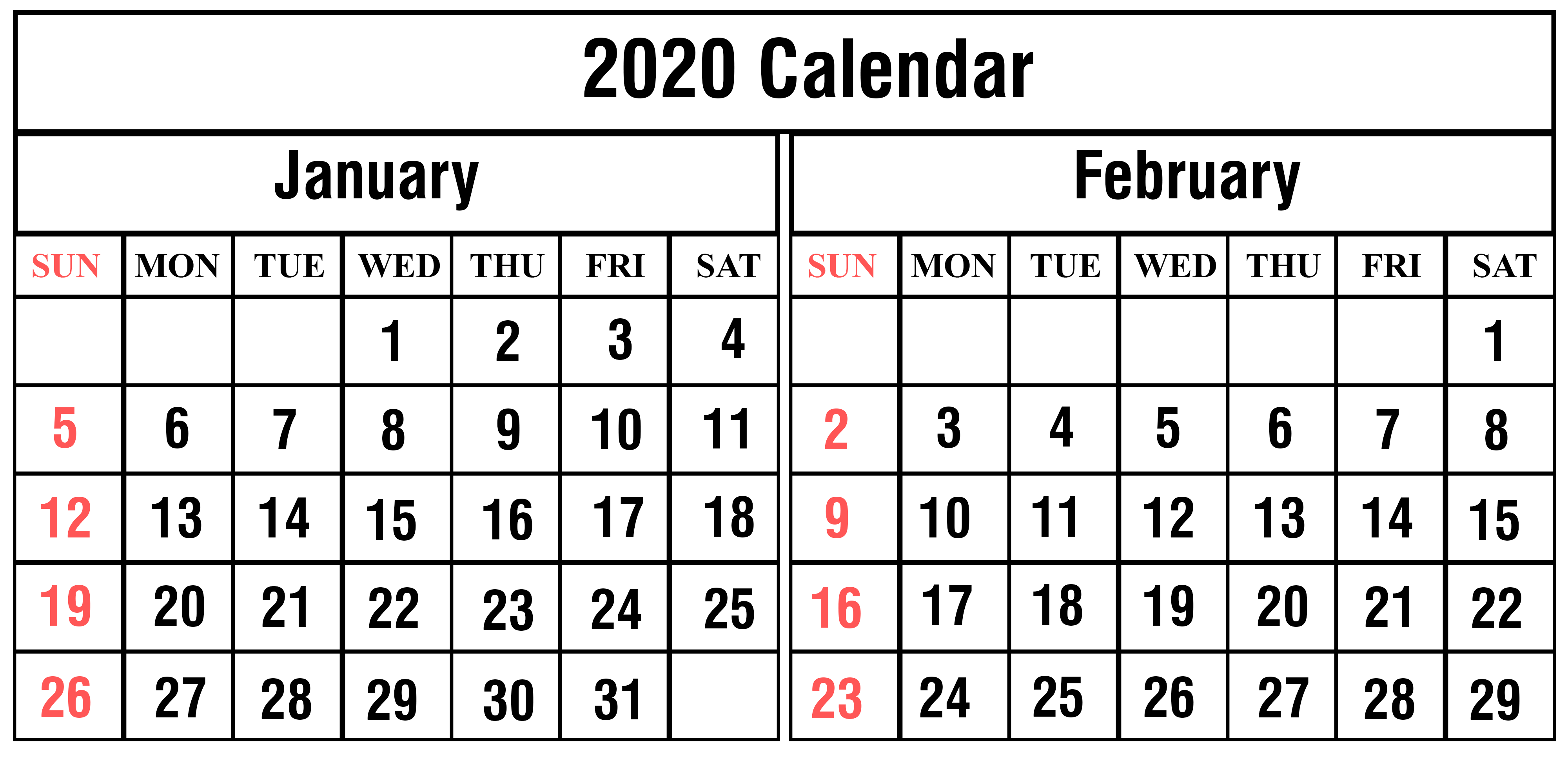 picture about Printable Feb. Calendar titled January February 2020 Calendar Printable Templates