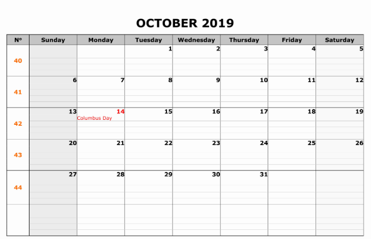 October 2019 Calendar with Holidays Printable