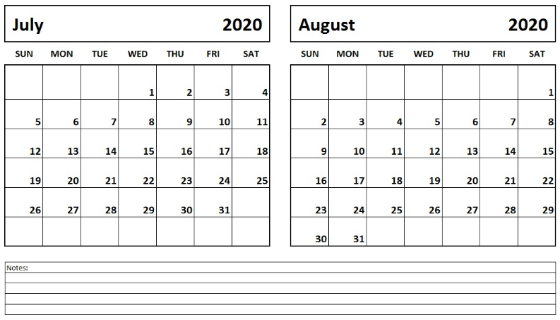Printable 2 Month July August 2020 Calendar