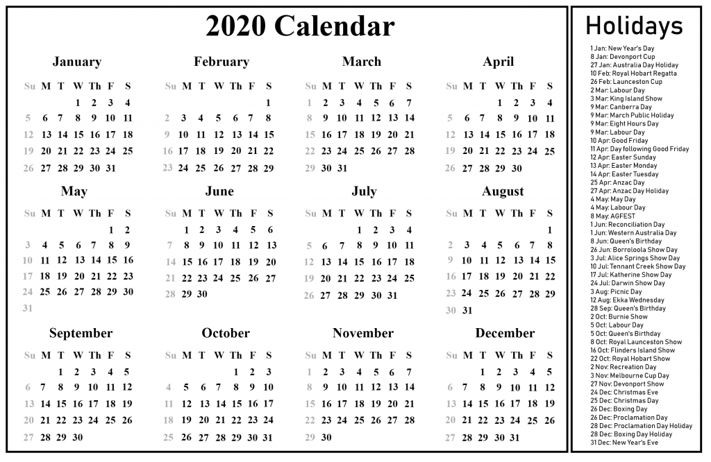 Printable Calendar 2020 with Australia Holidays