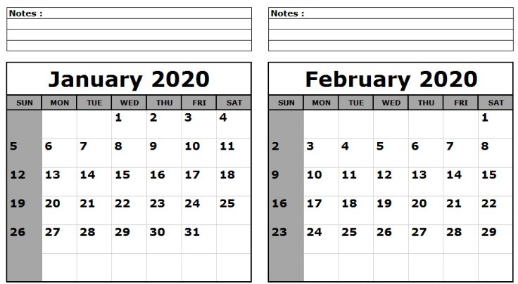 February 2020 Printable Calendar Cute.January February 2020 Calendar Printable Templates