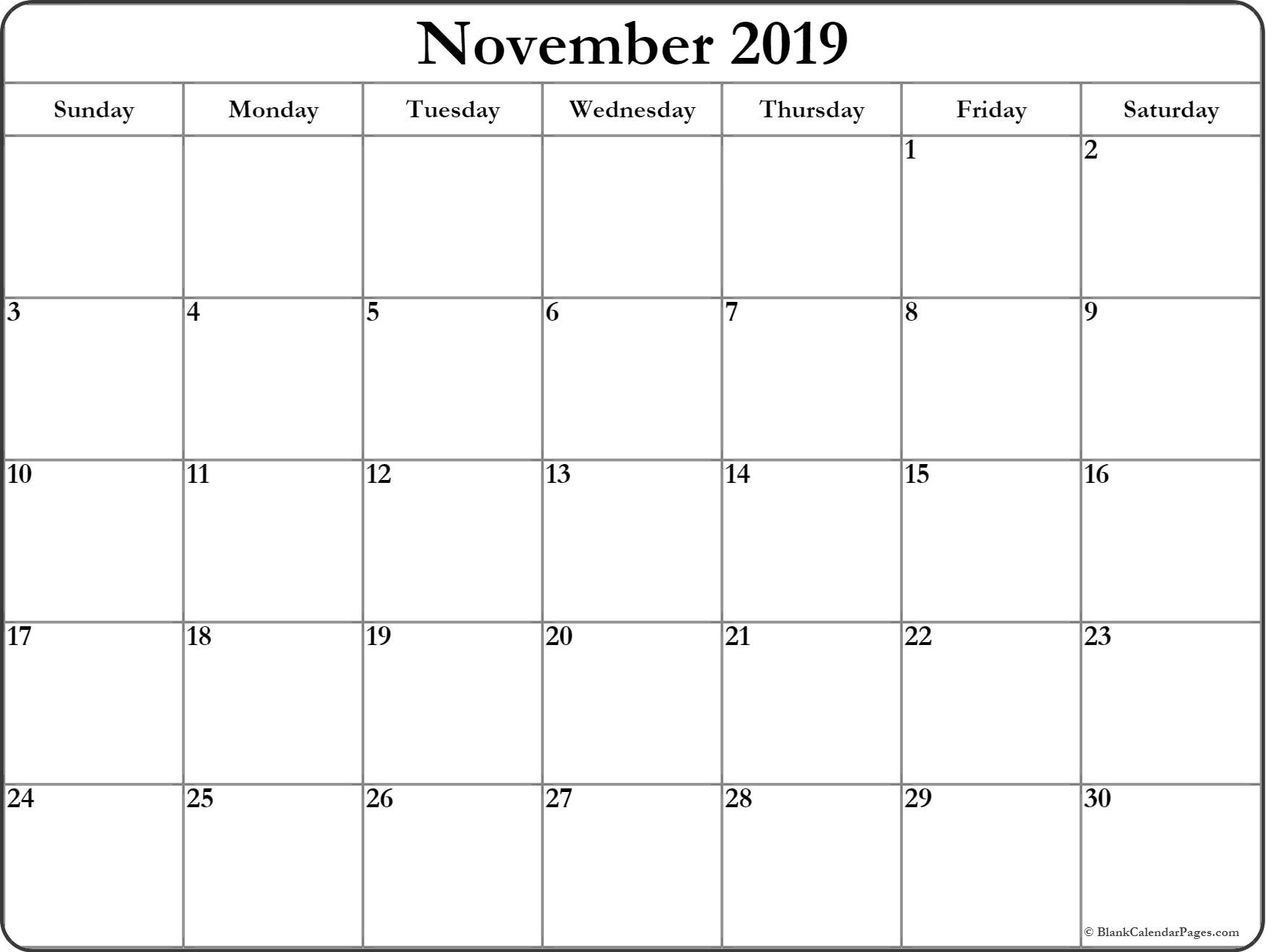 photo regarding November Printable Calendar titled Printable November 2019 Calendar PDF Cost-free Month to month Template