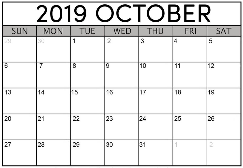 Printable October 2019 Calendar Word