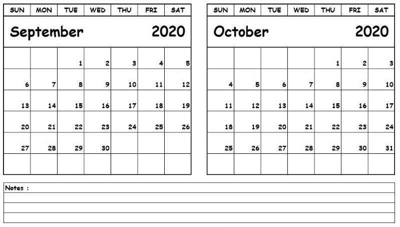 September October 2020 Calendar Printable