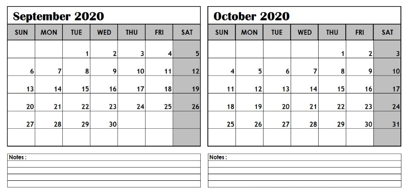 September October 2020 Calendar Template