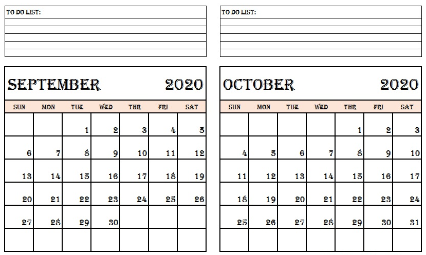 September October 2020 Calendar with Notes