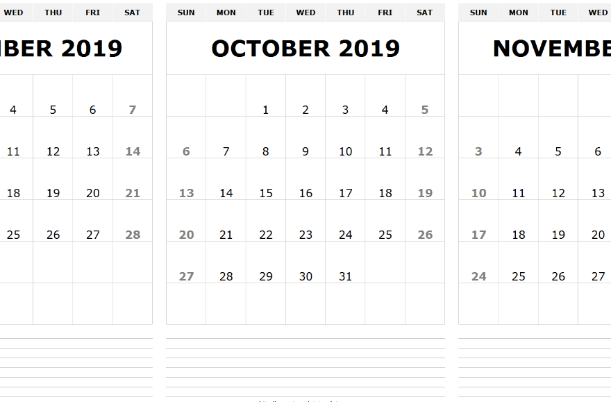 September October November 2019 Calendar Printable