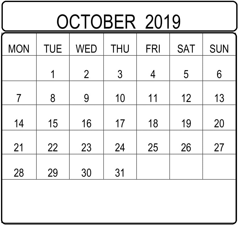 Blank Monthly Calendar Template October 2019