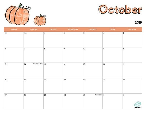 Cute October 2019 Calendar Printable