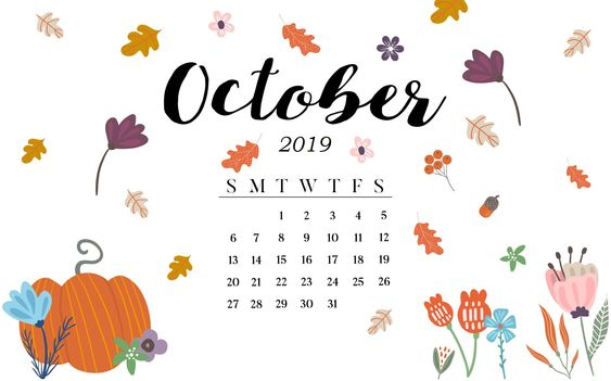 Cute October 2019 Desktop Calendar